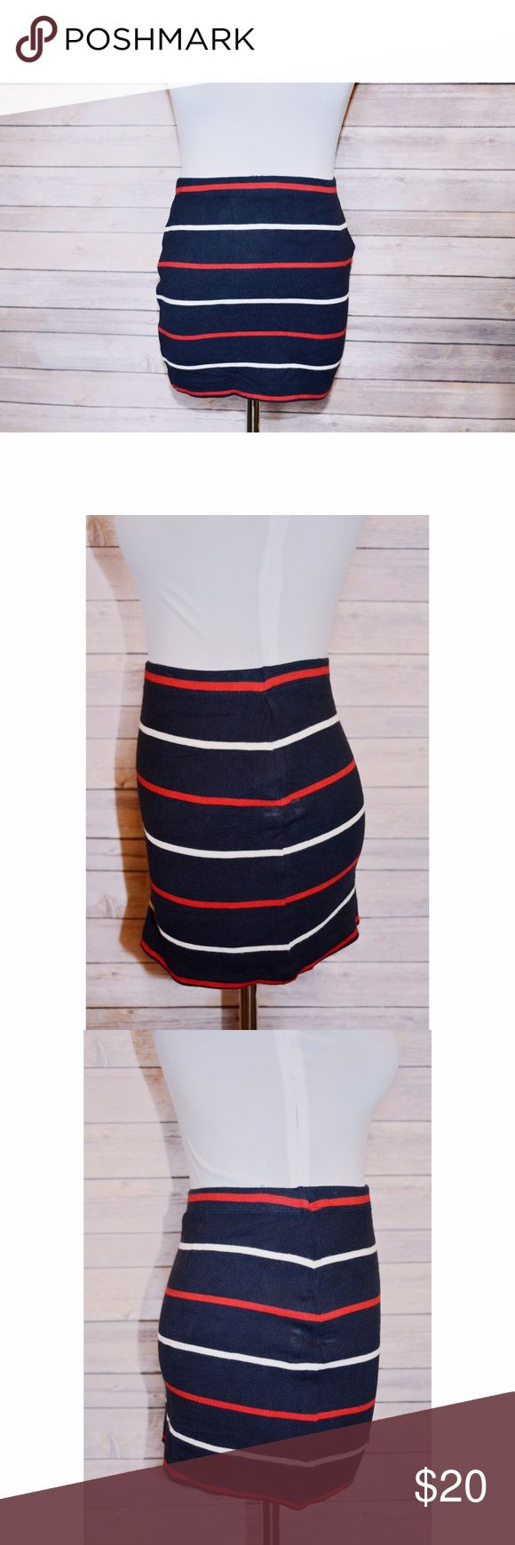 Forever 21 Patriotic Striped Mini Skirt Show your love for the red, white & blue in this  patriotic little mini from Forever 21!  Stretch.  Mini skirt.  Navy blue with red & white stripes.  Waist measures 12.5 inches when laying flat.  Length measures 12 inches.  Size Small  Worn once for 2 hours so this little number is in pristine condition!  Smoke free home.  Super fun & perfect for patriotic parties! Forever 21 Skirts Mini