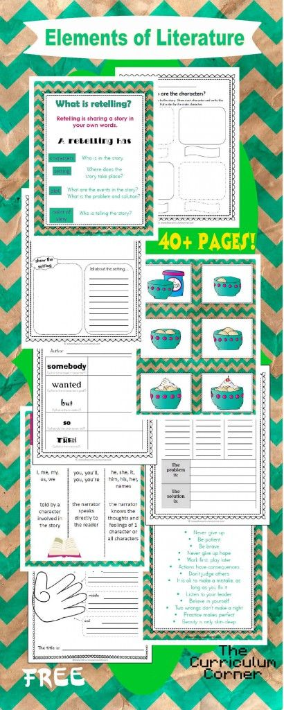 WOW! FREE Elements of Literature Unit of Study   Includes mini-lessons, anchor charts, graphic organizers, exit tickets & more!!!  The Curriculum Corner