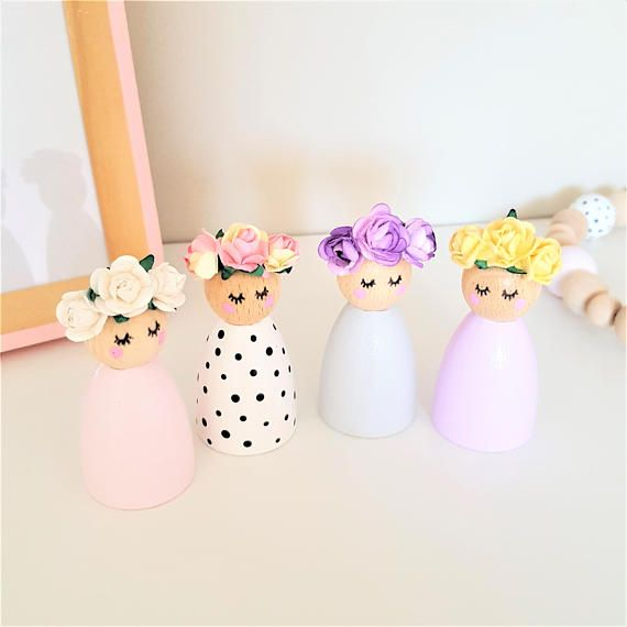 Peg Dolls Flower Crown – Wooden Toys – Pastel Nursery Décor – Flower Girl Gift – New Baby Gift – Wooden Décor