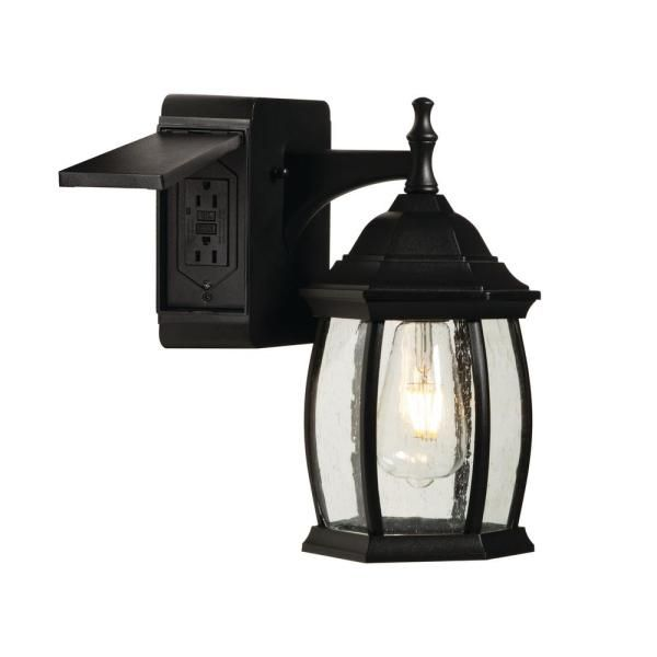 Addington Park Grace 1 Light Outdoor Wall Sconce With 2 Built In Gfci Outlets Black 31847 The Home Depot In 2020 Outdoor Wall Sconce Outdoor Walls Sconces