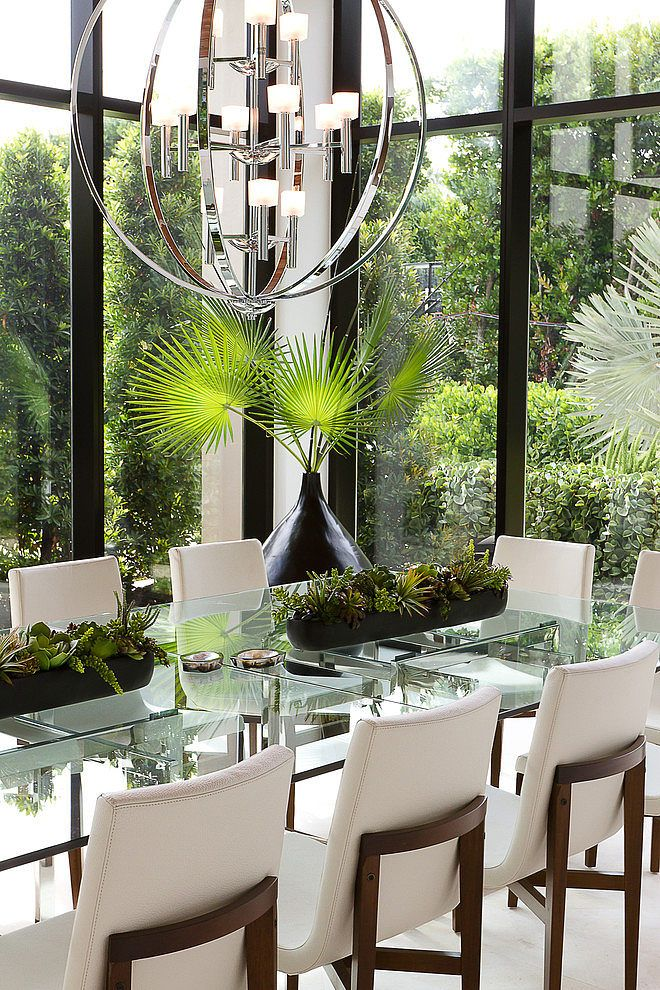 Coastal Miami By SLC Interiors Glass Dining Room TableDining