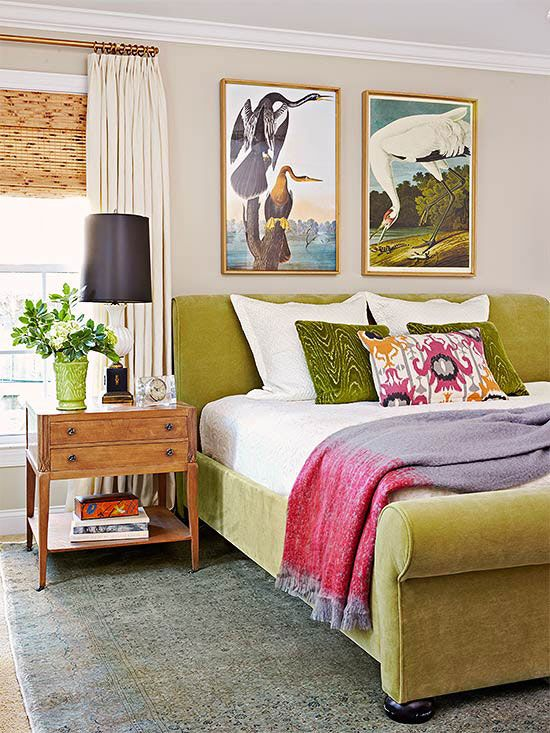 An apple green velvet bed hits this room with a punch of color! More decor ideas here: http://www.bhg.com/decorating/decorating-photos/bedroom/statement-bed/?socsrc=bhgpin020715statementbed&bedroom