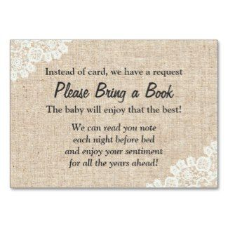 Burlap And Lace Bring A Book Instead Of A Card Insert Card. Baby Shower ...