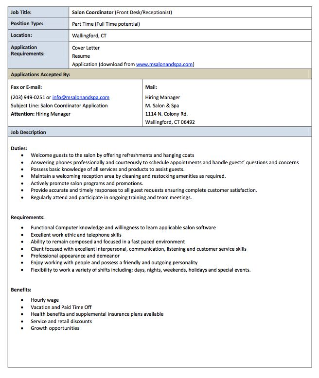 this example salon receptionist job description resume we will give you a refence start on building resumeyou can optimized this example resume on creating - Hairdresser Job Description