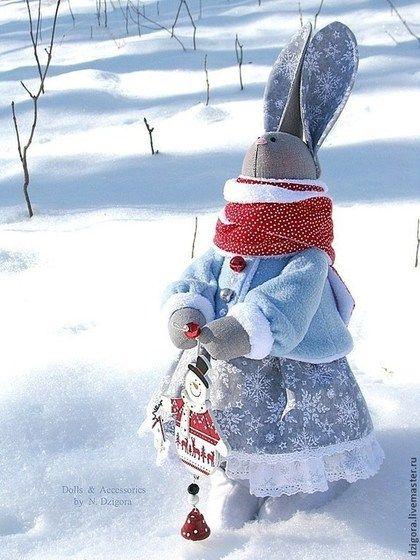 Игрушки животные, ручной работы. Snow Bunny. Дзигора Наталья. Ярмарка Мастеров. Зайчик игрушка, новогодний подарок, зимний