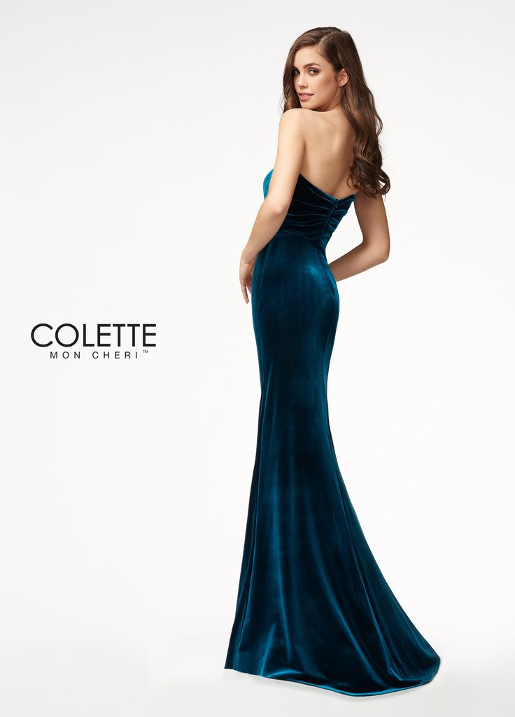 Colette for Mon Cheri CL21703 -   	Velvet  	Strapless sweetheart neckline  	Column silhouette  	Draped front  	Fitted waist  	Removable straps included