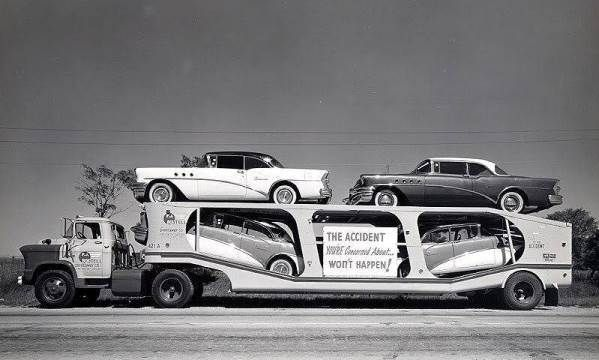 1955 Buicks on quad trailer