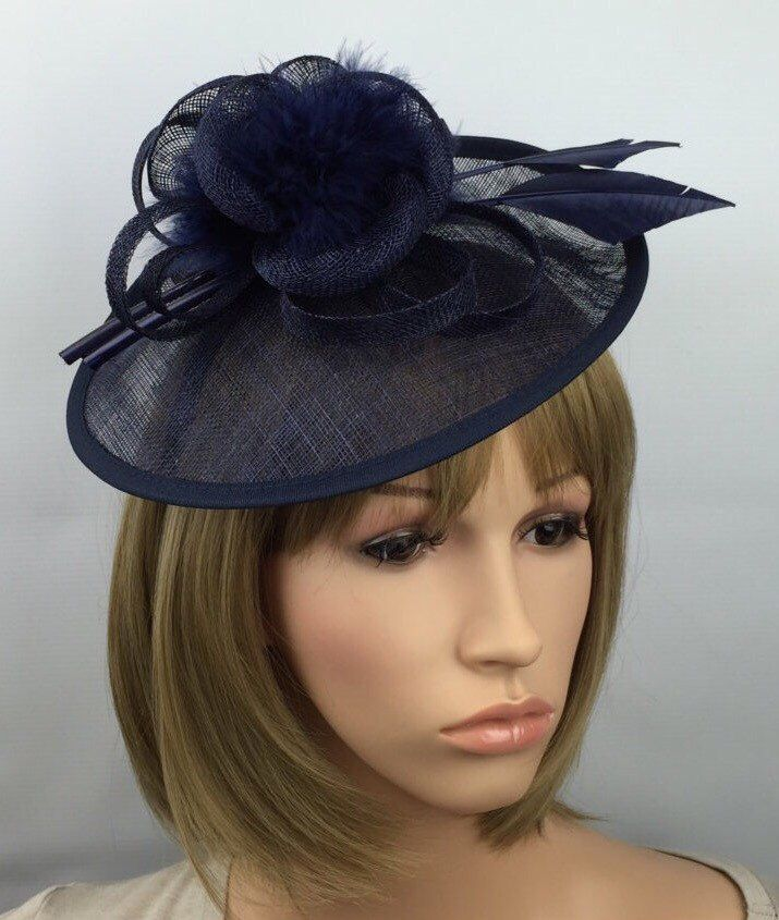 Dark Blue Fascinator Navy Blue wedding hatinator Ascot hat Races ladies day  mother of the bride headpiece hair accessory  ce38ea00bb1