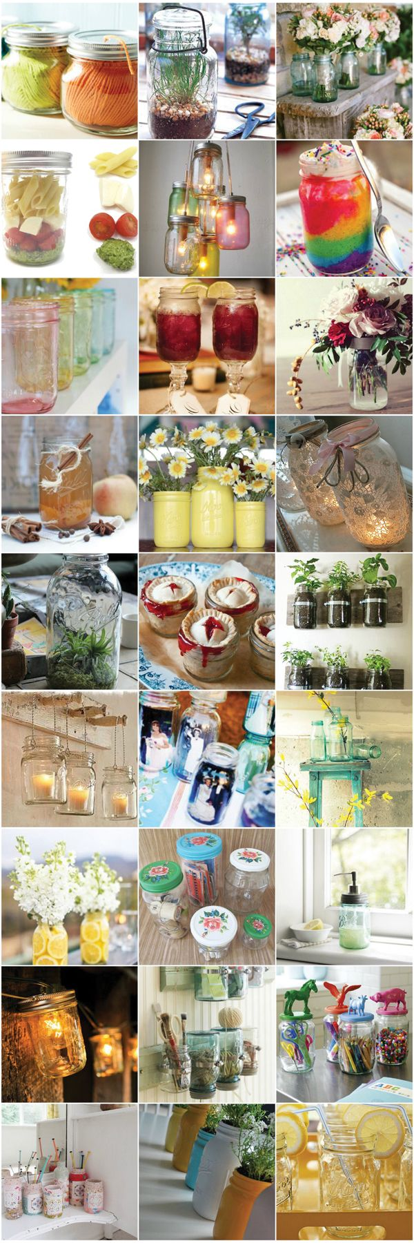 Lots of creative Ideas to use Glass Jars!