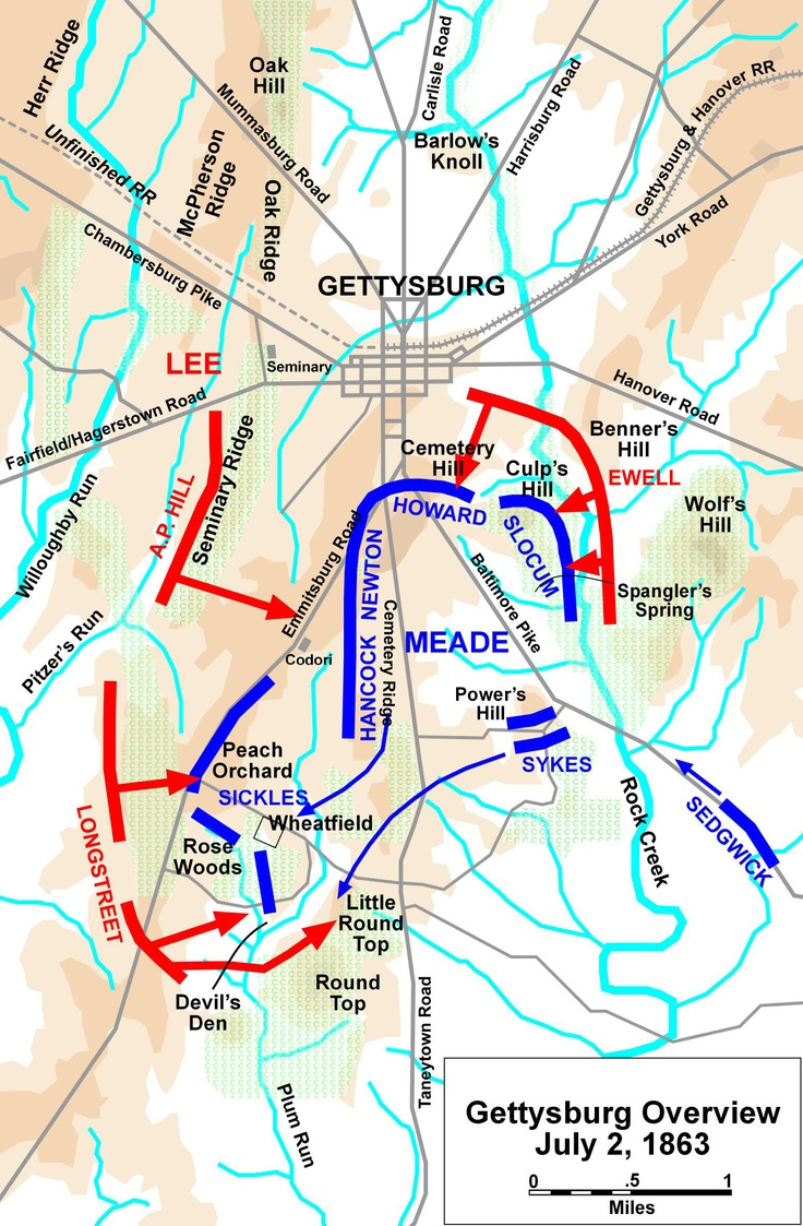 Best Civil War US Images On Pinterest American History - Gettysburg battle us map