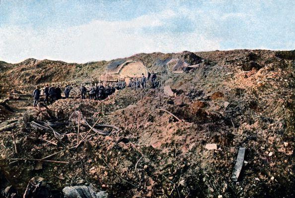 WWI, 1916, Verdun.  Fort de Souville,  destroyed by German artillery.  Autochrome lumière. Photo: Jules Gervais-Courtellemont