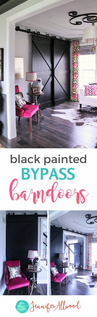 Bypass doors are a great way to separate open living areas for privacy. Here's how to build your own black bypass barndoors | DIY Farmhouse barndoors | Home Office Idea by themagicbrushinc.com | Black Barndoors and painted barndoors
