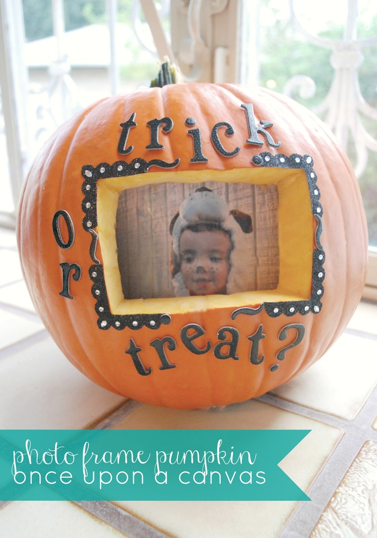 Photo Frame Pumpkin - Such a clever pumpkin carving idea! From Once Upon a Canvas.