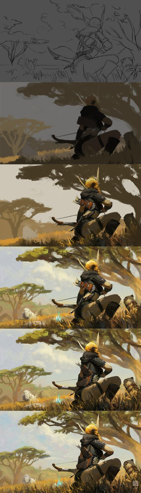 The painting process of Echeyakee, the Whitemist by 6kart on deviantART