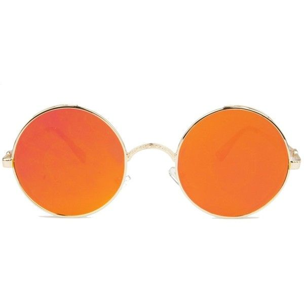 Vintage Hippie Retro Metal Round Circle Frame Sunglasses (£9.80) ❤ liked on Polyvore featuring accessories, eyewear, sunglasses, glasses, jewelry, orange, metal sunglasses, round hippie sunglasses, retro sunglasses and mirror lens sunglasses