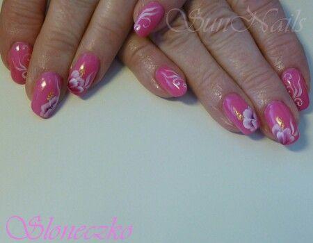 Roze met witte bloemetjes