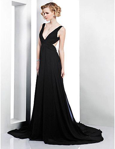 A-line V-neck Court Train Chiffon Elastic Woven Satin Evening Dress - USD $ 179.99