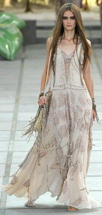 Boho chic maxi dress with gypsy embellishment. Modern hippie fashion. FOLLOW http://www.pinterest.com/happygolicky/the-best-boho-chic-fashion-bohemian-jewelry-gypsy-/ for the BEST Bohemian trends in clothing & jewelry.