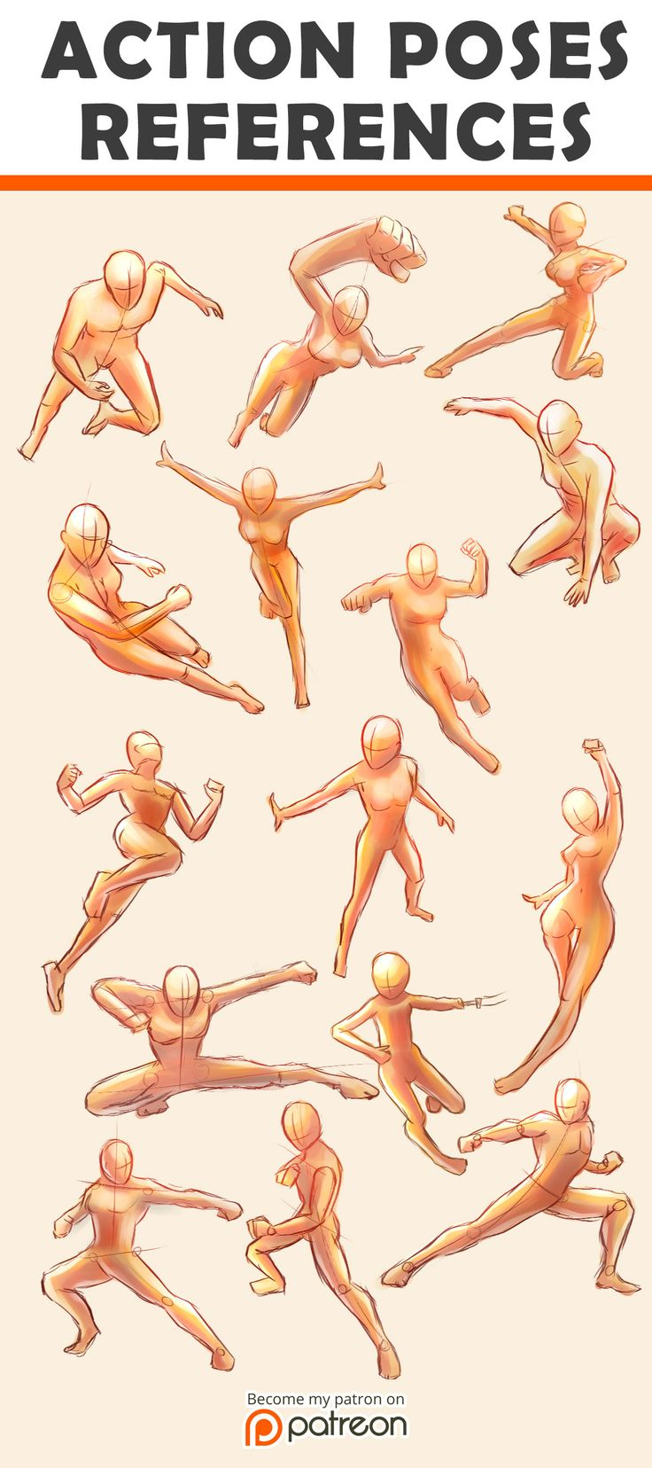 Action Poses Reference Sheet by Seiorai.deviantart.com on @DeviantArt