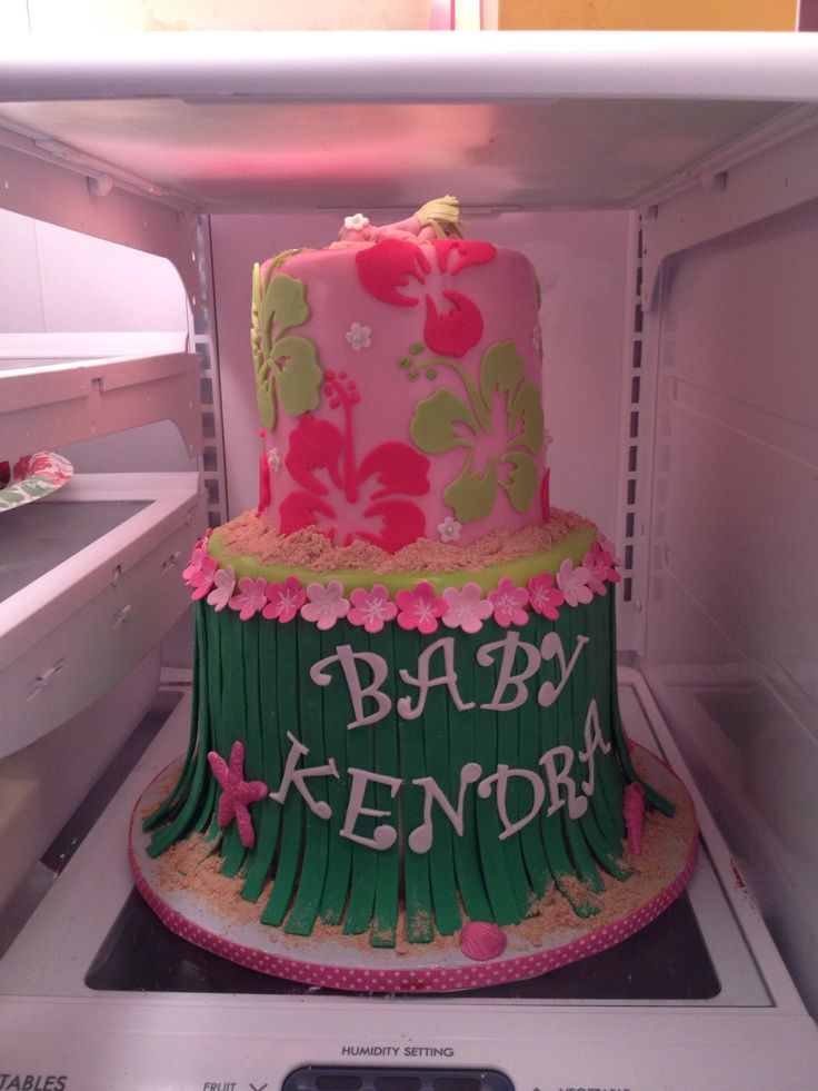 Hawaiian Baby Shower Cake #luau Cake