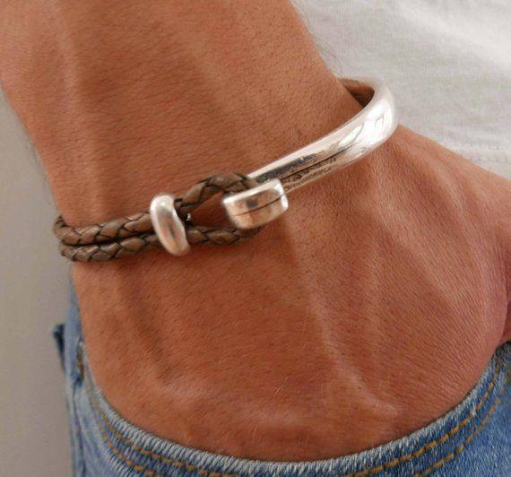 Men's Bracelet – Men's Leather Bracelet – Men's Cuff Bracelet – Men's Jewelry – Men's Gift – Boyfriend Gift – Husband Gift – Present For Men