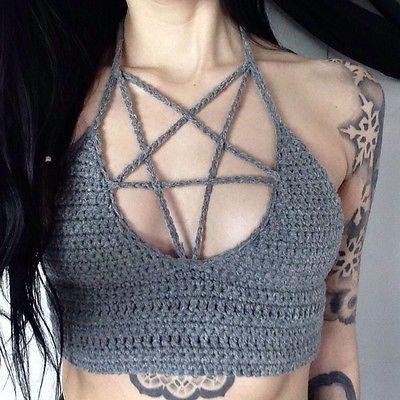 Pentagram Gothic Crochet Crop Vest Halter Top Cami Bralette Festival Bikini Sexy