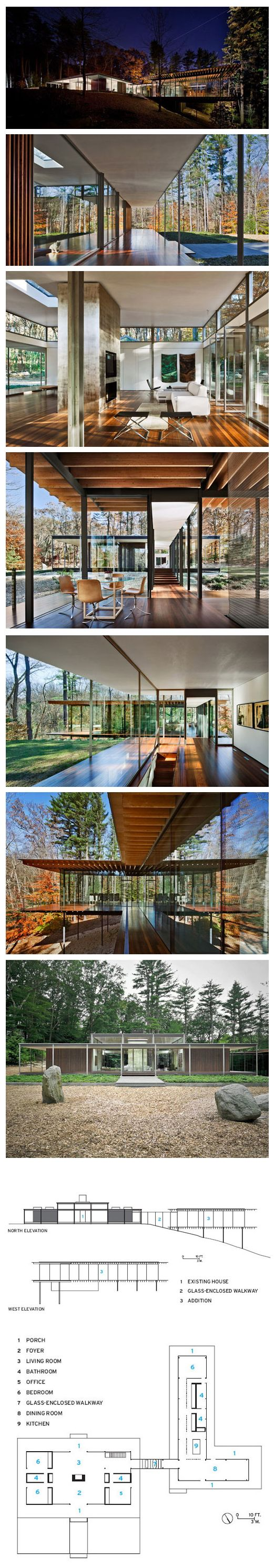 Glass/Wood House, New Canaan, Connecticut, designed by Kengo Kuma & Associates (via Daily Icon).