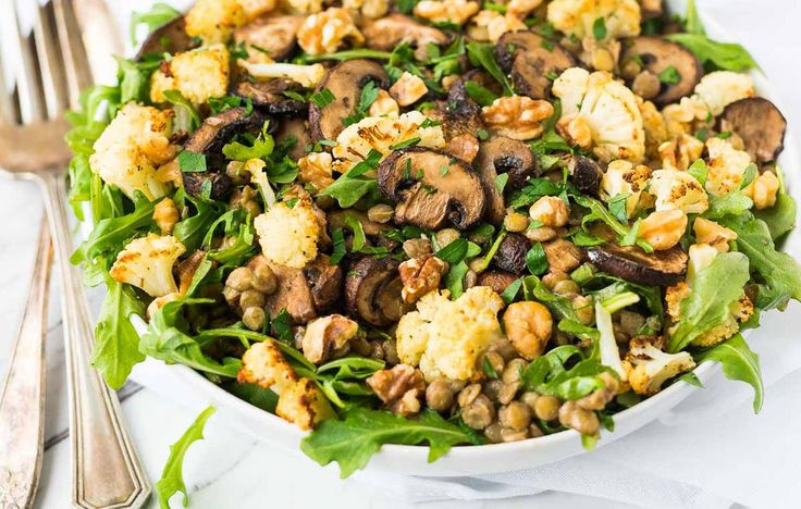 Lentil Salad with Roasted Cauliflower and Mushrooms http://www.bicycling.com/food/nutrition/7-vegetarian-meals-you-can-cook-once-and-eat-all-week/slide/6