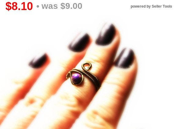 On Sale Adjustable Gemstone midi ring Wire by rsuniquejewel