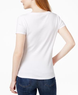 Tommy Hilfiger V-Neck T-Shirt, Created for Macy's - Ivory/Cream XL