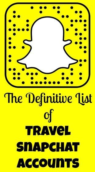 The Definitive List of Travel Snapchat Accounts. Looking for travel inspiration? Follow these travelers as they use Snapchat to document their adventures. #Snapchat #Travel