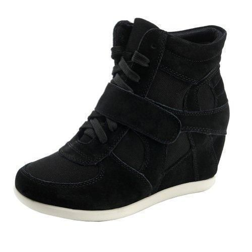 Oferta: 62€ Dto: -52%. Comprar Ofertas de Generic Mujer Clásico Cuña Tela Negro Ante Moda Zapatilla De Deporte 8522 EU35.5 barato. ¡Mira las ofertas!