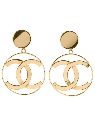 CHANEL VINTAGE Logo Earrings