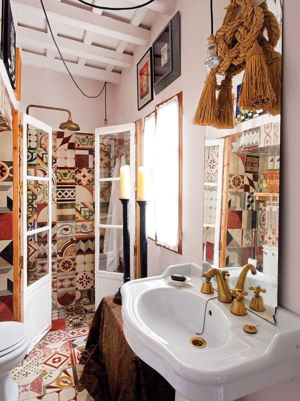 Una Casa Con Chispa Andaluza. Patchwork TilesBohemian BathroomDecorative  TileBathrooms DecorBathroom ...