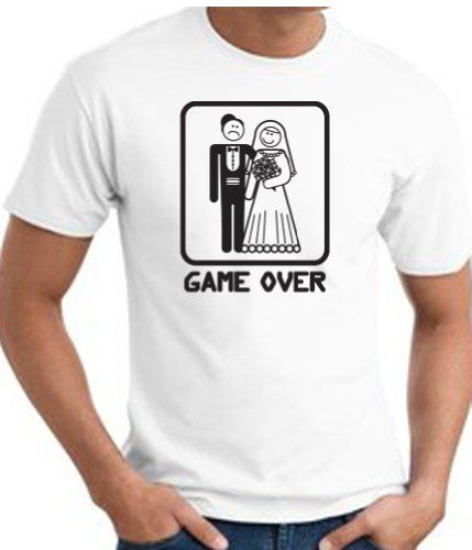 GAME OVER Funny Novelty Marriage Bride And Groom T-shirt Tee Shirt - White Large