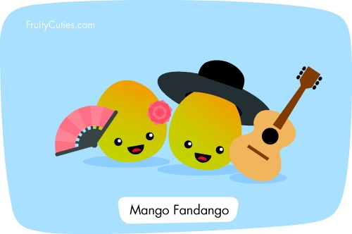 Mango Fandango - kawaii fruit joke | Kawaii fruit and ...