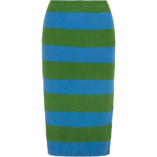 Max Mara Striped slub stretch wool-blend pencil skirt (1 430 SEK) ❤ liked on Polyvore featuring skirts, bright green, pencil skirts, stripe skirt, below knee pencil skirt, green skirt and below the knee pencil skirts