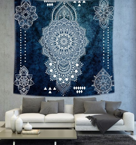 Dark Blue Mandala wall tapestry Bohemian by Christinedecorshop