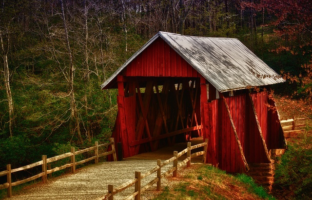 Campbell's Covered Bridge  built in 1909 - the only covered bridge in SC near Landrum, SC