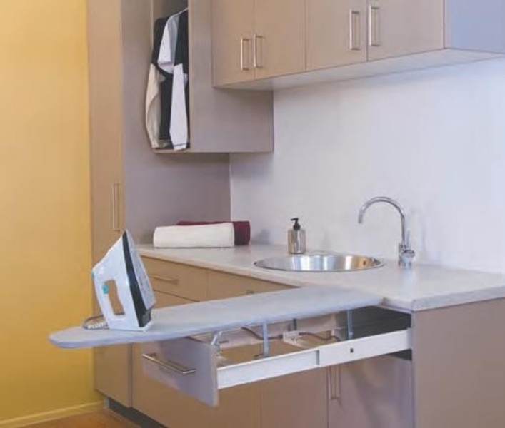 Laundry Ideas must have inbuilt ironing board & long bench