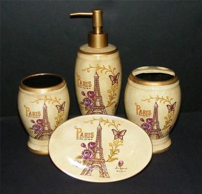 New Paris Eiffel Tower 4p Ceramic BATH Accessories SET Shabby Rose  Butterfly Vtg