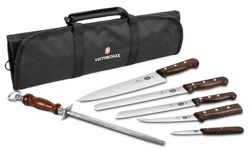 Victorinox Forshner Rosewood Handle Knife Set with fancy carrying roll Regular: $343, on sale: $199