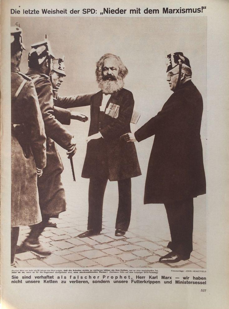 "John Heartfield - Die letzte Weisheit der SPD: ""Nieder mit dem Marxismus!"", Arbeiter Illustrierte Zeitung (The ultimate wisdom of the Social Democratic Party: ""Down with Marxism!"", from the Workers' Illustrated News), Vol. 10, No. 27, 1931"