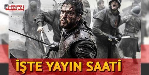 Game Of Thrones 7. sezon 1. bölümü saat kaçta? Türkiye'de ne zaman yayınlanacak?: Tüm dünyada izlenme rekorları kıran Game of Thrones'un yeni sezon macerası büyük bir merakla bekleniyor. Game Of Thrones 7. sezonunun 1. bölümü Amerika'da bugün yayınlanacak . Peki yeni sezon 1. bölüm saat kaçta yayınlanacak? Türkiye'de yayın tarihi ne zaman? İşte Game Of Thrones 7. sezonuyla ilgili detaylar!