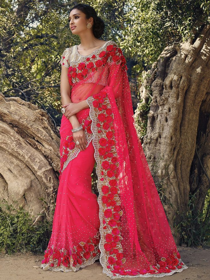 Designer Sarees Online Ping In Usa Uk Canada Gorgeous Pink Netted Moti Work Wedding