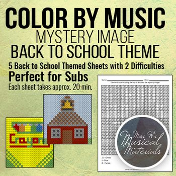 Just in time for back to school!  Our popular color by music mystery image gets a back to school theme makeover!  These are PERFECT for sub days.  Each page can be used for many grade levels and takes approximately 20 minutes to complete. #music #education #musiceducation
