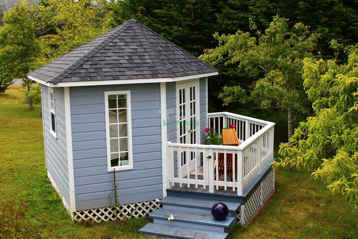 Catalina 12ft garden shed with double french doors in Mendocino, California.