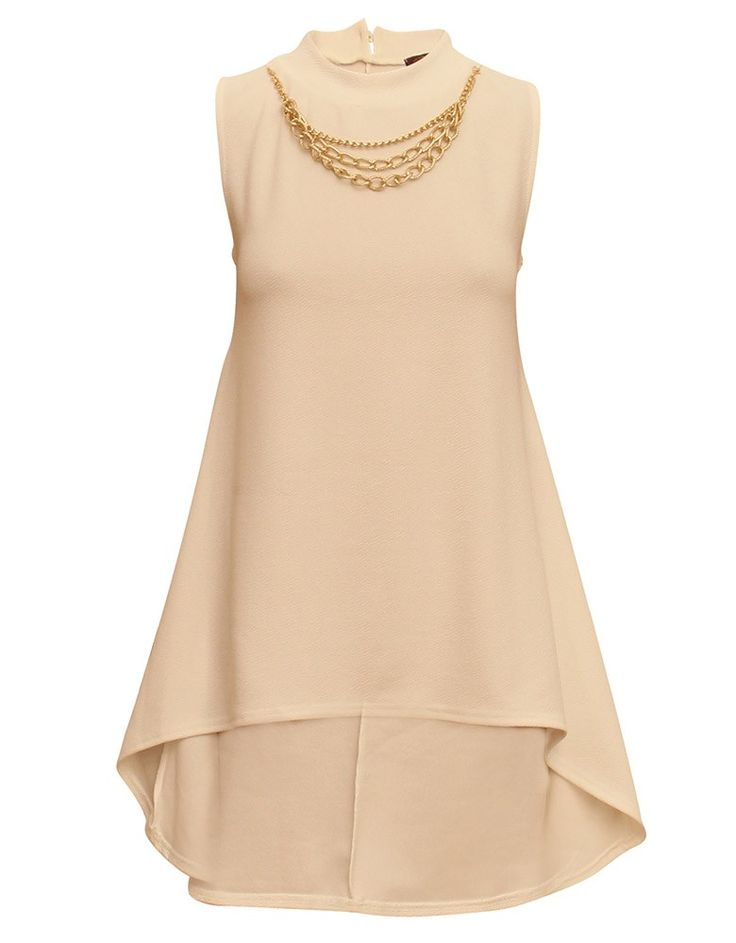 White High Neck Swing Top w Low Back and Gold Chain Detail - TOPS