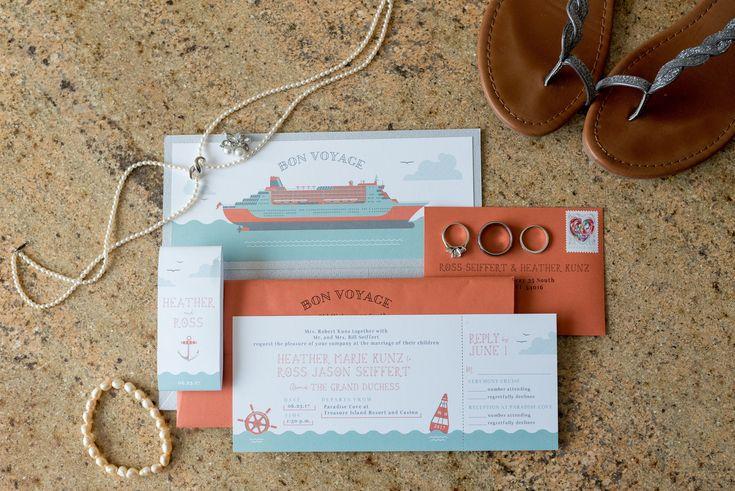 Custom cruise themed wedding invitations Photo by Kelly Birch