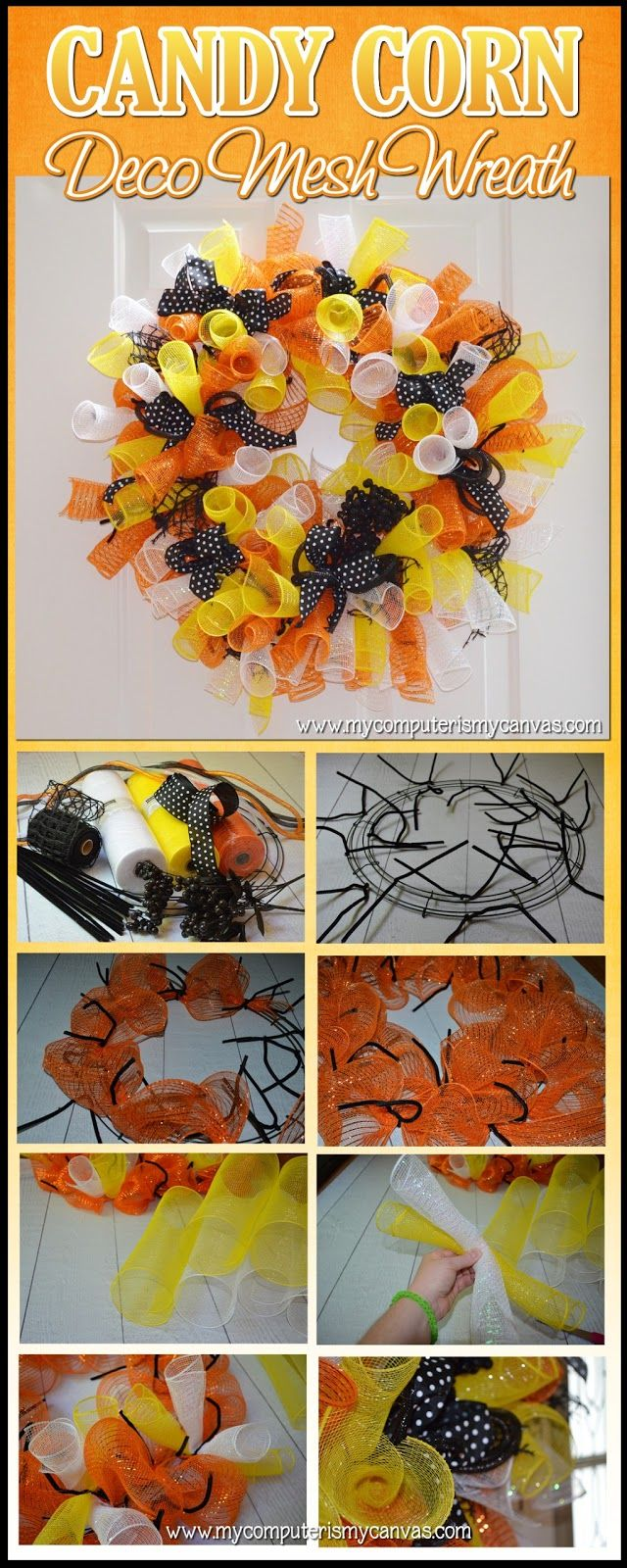 How to Make a Candy Corn Deco Mesh Wreath for Halloween (except you have to watch a youtube video for instructions - the link is on her website).